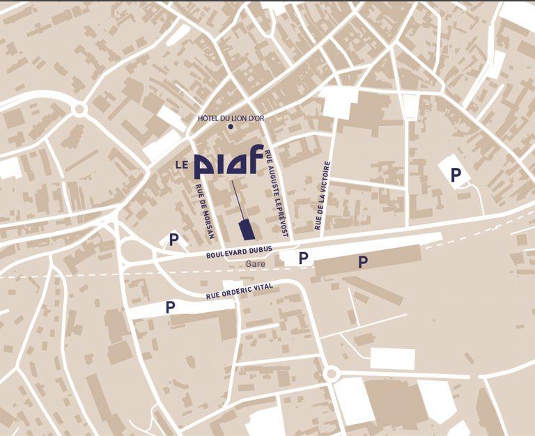 Plan des parkings autour du théâtre Le Piaf