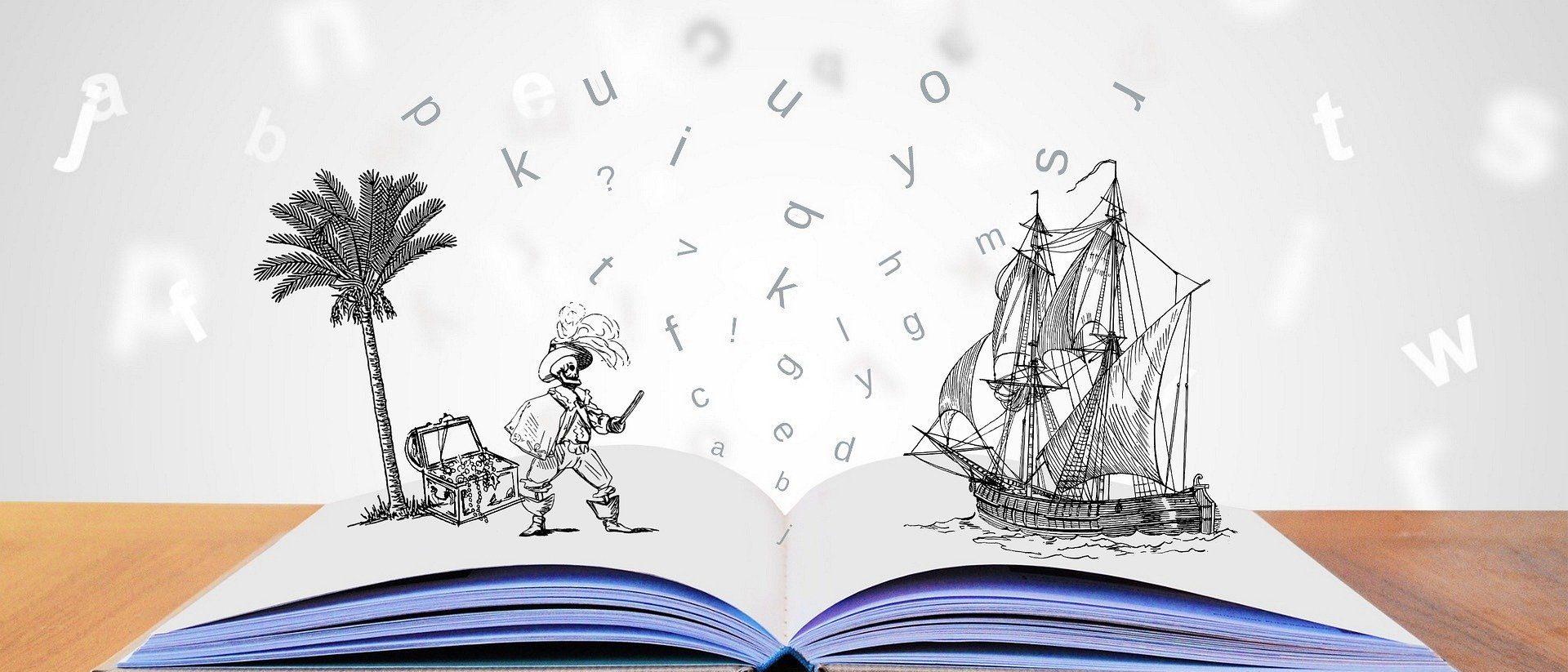 Un livre ouvert ou émerge un pirate et un bateau